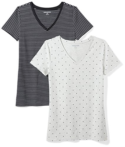Amazon Essentials Women's 2-Pack Classic-Fit Short-Sleeve V-Neck Patterned T-Shirt, Black Stripe/Heart Print, Large