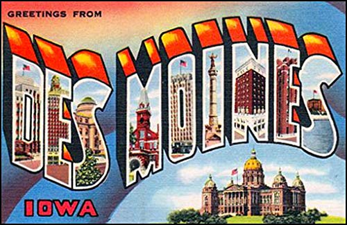 American Vinyl Vintage Greetings from DES Moines Sticker (Old Postcard Art Logo Iowa ia)