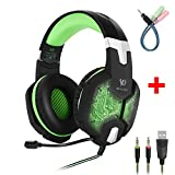 Gaming Headset with Microphone,PC Gaming Headphones Bass Stereo Over-ear Colors Breathing LED Light Noise Isolation for Laptop Computer Gamer (Black Green)