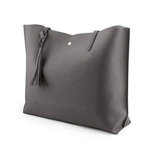 OCT17 Women Tote Bag - Tassels Faux Leather Shoulder Handbags, Fashion Ladies Purses Satchel Messenger Bags (Dark Gray) by OCT17 (Image #5)
