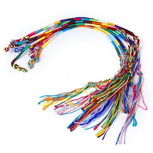 9pcs Colorful Handmade Braided Thread Friendship Bracelets Wrist Ankle Bracelet (Random Color)