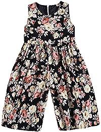 de3a477e5d9e Toddler Kids Little Girls Floral Print Sleeveless Jumpsuits Rompers Wide  Leg Pant Playsuit Outfits Summer Clothes