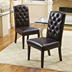Clark Leather Upholstered Dining Chairs w/ Button Tufted Backrest (Set of 2)