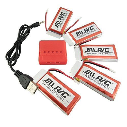sea jump 3.7V 1200mAh Lipo Battery 25C ( 5PCS ) + 5 in 1 Batteries Charger for SYMA X5SW X5SC X5S RC Quadcopter Drone Replacement