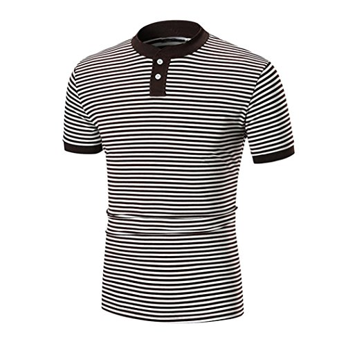Misaky Men's Short Sleeve Slim Fit Striped Polo Shirt Button Golf T-Shirt Georgia Striped Hoody