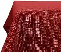 Deconovo Mantel Mesa Cuadrado Efcto Lino para Cocina 150 x 150 cm Rojo