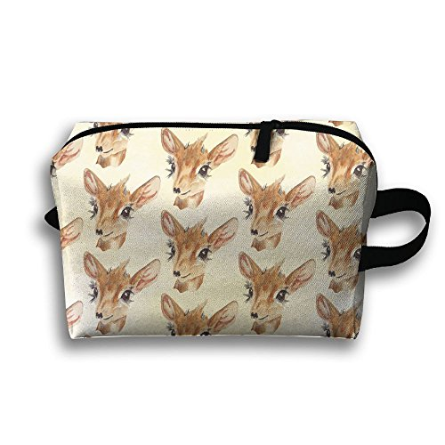 SO27Tracvel Deer Watercolor Pattern Toiletry Bag Dopp Kit Tactical Bag Accessories Travel Case
