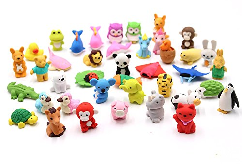 Collectible Erasers - Set of 32 - FIVOENDAR Adorable Pencil Eraser Zoo Animal Collection - Children's Day Gift Party Favor Artist Supply Eraser - More Fun, Toy Kids Set