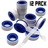 Teflon Tape - 12 Rolls PTFE Tape Thread Tape Thread Seal Tape Pipe Sealant Tape for Plumbers Plumbing for Shower Heads and Pipe Threads
