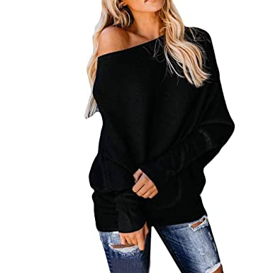 4f417a81e20 OTSLEY Women's Fall Off Shoulder Knitted Sexy Loose Batwing Sweater Tops  Shirt Blouse