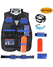 Unigear Tactical Vest Kit for Kids Nerf Guns N-Strike Elite Series Blasters (Black-with Hand Grenade)