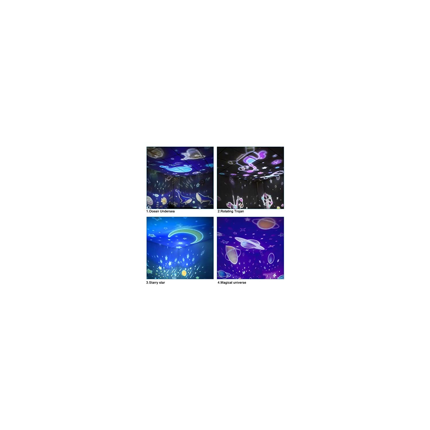 Star Projector Night Light for Kids, Johgee 360 Degree Rotating Star Night Light with 4 Sets of Film, 9 Lighting Effects and 6.6FT USB Cable for Kids Bedroom/Birthday Party, Christrmas Gifts