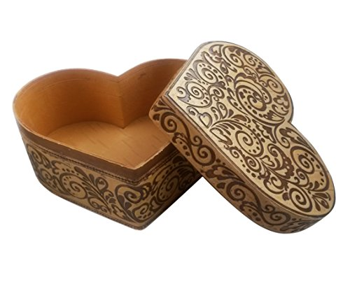 - Tourmania Heart Gift Decorative Trinket Box of Birch Bark Wood