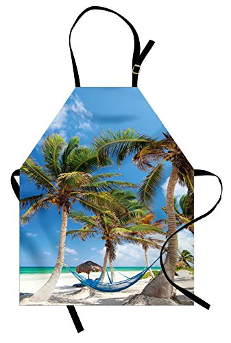 Lunarable Beach Apron by, Hammock Palm Trees and Sand Sunny Beach Scenery Travel Vacation Image, Unisex Kitchen Bib Apron with Adjustable Neck for Cooking Baking Gardening, Blue Coconut and Green ()
