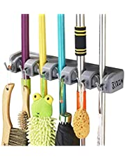 Mop Bracket, Lypumso Device Holder Wall Mounted Organiser for Mops, Brooms and Garden Tools etc. Wall Bracket with 5 Hooks and 6 Quick Release
