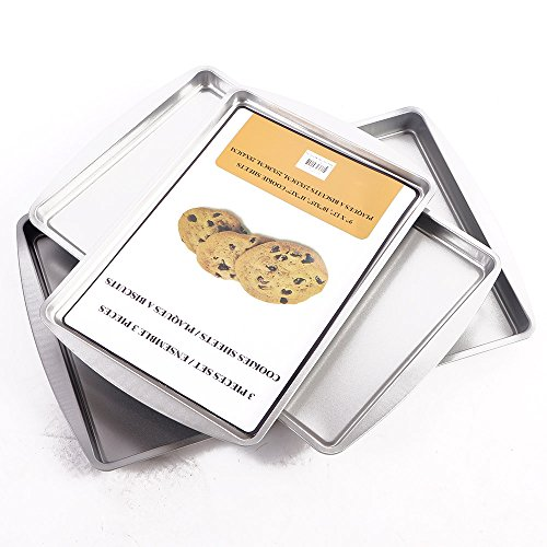 3 Non-Stick Cookie Sheet,Harmless Non-toxic Rectangular Toasting Pan Stainless Washable Biscuit Pan,Baking Tray,Biscuit Brownie Pan