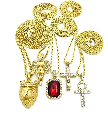 MENS ICED OUT KING LION, ANGEL,GEM RED RUBY STONE, ANKH CROSS BOX CUBAN CHAIN NECKLACE SET OF 5 (Red)