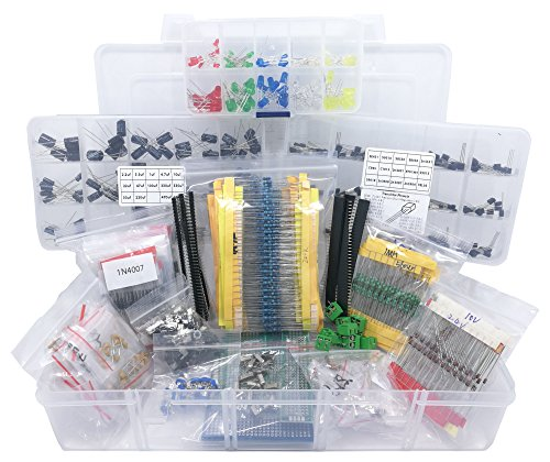 Interstellar Electronic Electronic Component Assortment, Resistors, Capacitors, Inductors, Diodes, Transistors, Potentiometer, LED, PCB, 2000 pcs