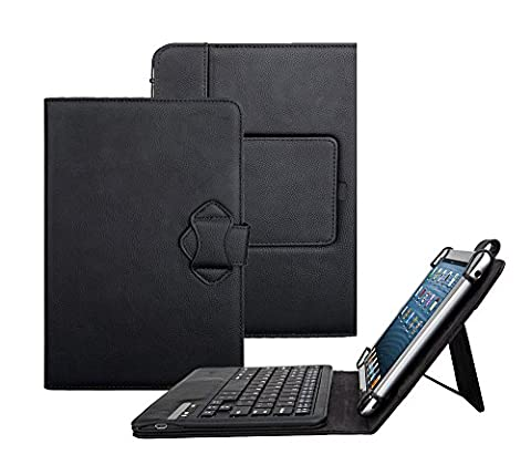 Tsmine Amazon Fire HD 10 Tablet Bluetooth Keyboard Case - Universal 2-in-1 Detachable Wireless keyboard [QWERTY] w/ Folio Leather Case Stand Cover [NOT include Tablet], (10 Tablets Under $60)