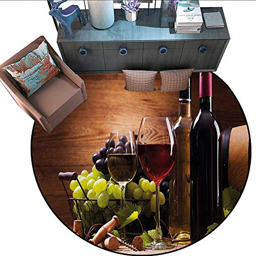 Wine Round Rug Kid Carpet Glasses of Red and White Wine Served with Grapes French Gourmet Tasting Circle Rugs for Living Room (79