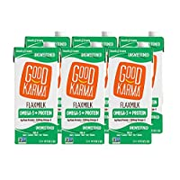 Good Karma Plant-Powered Flaxmilk, Unsweetened, 32 oz. Carton (Pack of 6) Dairy-Free...