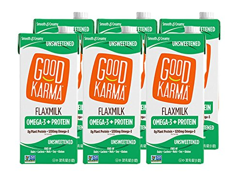 Good Karma Flaxmilk Unsweetened 32 oz. (Shelf Stable 6 Pack) A Creamy Dairy Free Milk Alternative With Plant-Based Protein That
