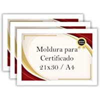 Kit 3 Porta Certificados 21x30 Moldura A4 para Certificado Foto Parede (Branco)