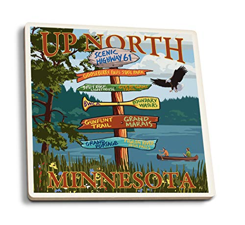 Lantern Press Gooseberry Falls, Minnesota - Destinations Sign (Set of 4 Ceramic Coasters - Cork-Backed, Absorbent)