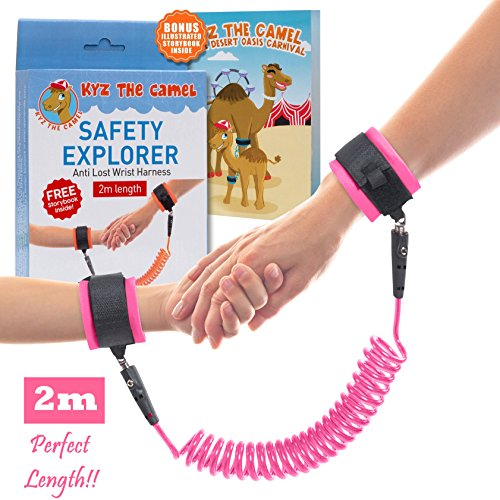 NimbusKids Child Wrist Leash - Anti Lost Wrist Link for Kids and Toddlers - 2m - Pink