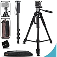 Durable Pro Grade 75 inch Tripod + 72 inch Pro Monopod W/ Convenient Backpack style Carrying Case for Sony Alpha 7II 7S, 7R, Alpha 7, a5100, a6000, a5000, a3000, SLT-A77 II, SLT-A99, SLT-A58, SLT-A57, SLT-A37, SLT-A77, SLT-A35, SLT-A65, SLT-A55, SLT-A33, Alpha NEX-3, NEX-3N, NEX-5N, NEX-5R, NEX-5T, NEX-6, NEX-7, NEX-F3 DSLR Cameras