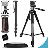 Durable Pro Grade 75 inch Tripod + 72 inch Pro Monopod W/ Convenient Backpack style Carrying Case for Sony Alpha 7II 7S, 7R, Alpha 7, a5100, a6000, a5000, a3000, SLT-A77 II, SLT-A99, SLT-A58, SLT-A57, SLT-A37, SLT-A77, SLT-A35, SLT-A65, SLT-A55, SLT-A33,