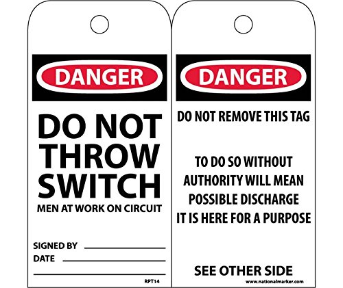 National Marker RPT14 Danger Do Not Throw Switch Men At Work On Circuit Tag
