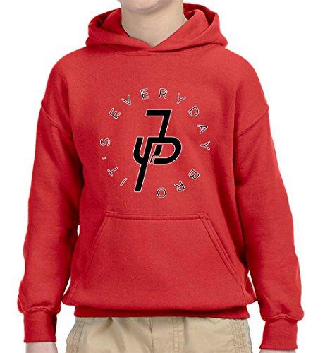 New Way 829 - Youth Hoodie It's Everyday Bro Jake Paul JP Logo Unisex Pullover Sweatshirt Medium Red