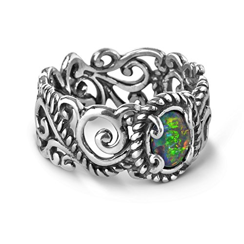 - Carolyn Pollack Sterling Silver Opal Rope and Scroll Band Ring Sizes 7