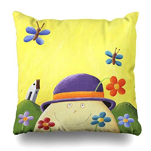 Ahawoso Decorative Throw Pillow Cover Eyes Orange Nursery Humpty Dumpty Flowers Clip Drawing Rhyme Blue Children Fantasy Funny Design Home Decor Pillowcase Square Size 16