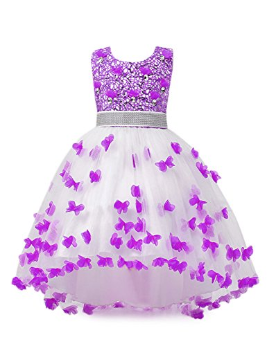 aibeiboutique Flower Girl Dress Princess Butterfly Ball Gown Dresses for Wedding Birthday Party (Violet, 7-8 Years)