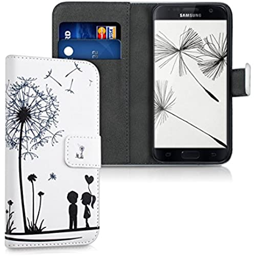kwmobile Chic synthetic leather case for the Samsung Galaxy S7 with convenient stand function - Design dandelion love in black white Sales