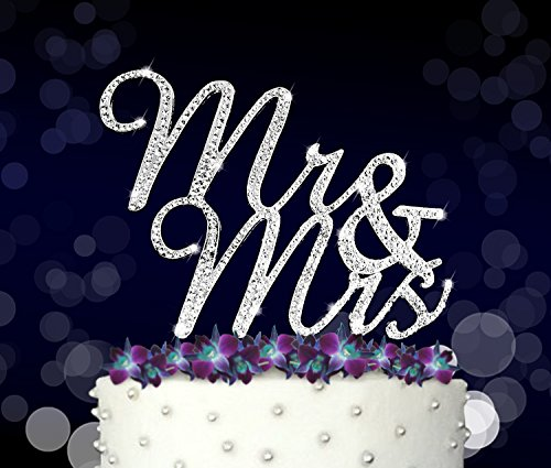 25th Anniversary Favor Boxes (Mr&Mrs, Wedding Vow and Anniversary Cake Topper, Crystal Rhinestones on Silver Metal, Party Decorations, Favors)