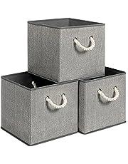SONGMICS Pudełka do przechowywania, zestaw 3-częściowy, pojemniki z materiału bez pokrywki, z uchwytami, 30 x 30 x 30 cm, wygląd lnu, szare RFB016G01