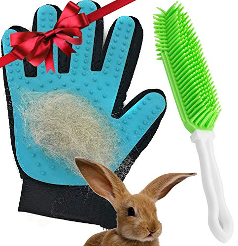 and Grooming Glove - 2PCS - Top Holiday Pet Deals - Gentle on Bunnies and Guinea Pigs- Small Animal Hair Remover ()