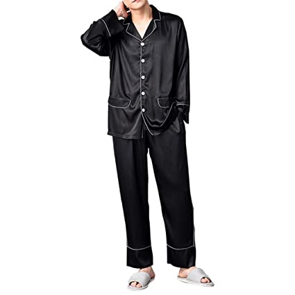 Pijama de seda de hombre pijamas juvenil Pantalón de manga larga Fina sección negra Juego de