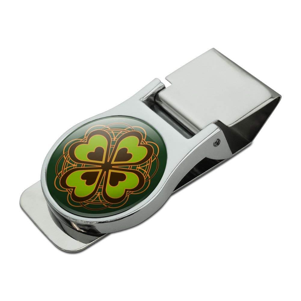 Four Leaf Clover Lucky Satin Chrome Plated Metal Money Clip