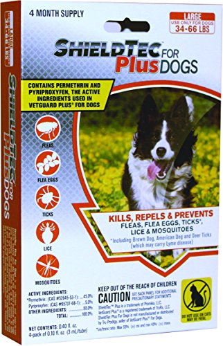 ShieldTec Plus - KILLS Flea Tick Lice Mosquitoes Eggs - Dog Medicine, Protection - 100% MADE IN THE USA ((4 dose) LARGE DOG (34-66 lbs))