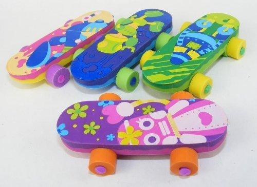Skateboard Erasers 4 Colors 4 Pcs