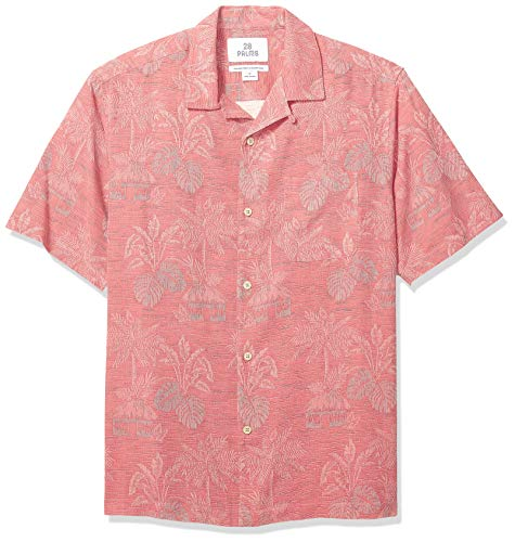 - 28 Palms Men's Relaxed-Fit 100% Textured Silk Tropical Leaves Jacquard Shirt, Nantucket Red, XX-Large