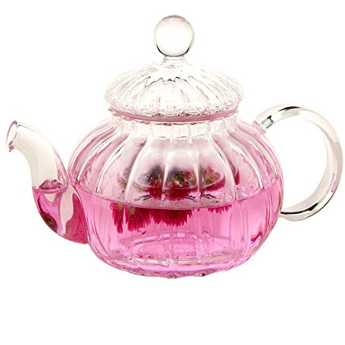 Lifelj Glass Teapot Heat Resistant Pumpkin Shape Glass Tea pot Tea Coffee Pot with Infuser Filter 600ml