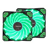 2 Pack Green LED Case Fans Light Up Computer With Cool Look. Reinforced Hydraulic Bearing with 120mm DC 15 LED Illuminating Cooling PC Computer. Quiet, Durable, Enhances Performance of CPU