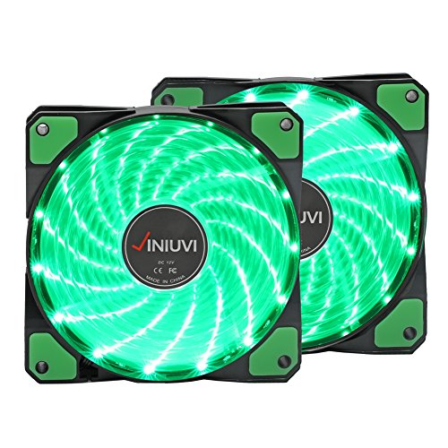 2 Pack 120mm Case Fan Green Light Up PC Case With Cool Look. Reinforced Hydraulic Bearing with 15 LED Illuminating Cooling PC Computer. Quiet, Durable, Enhances Performance of Computer