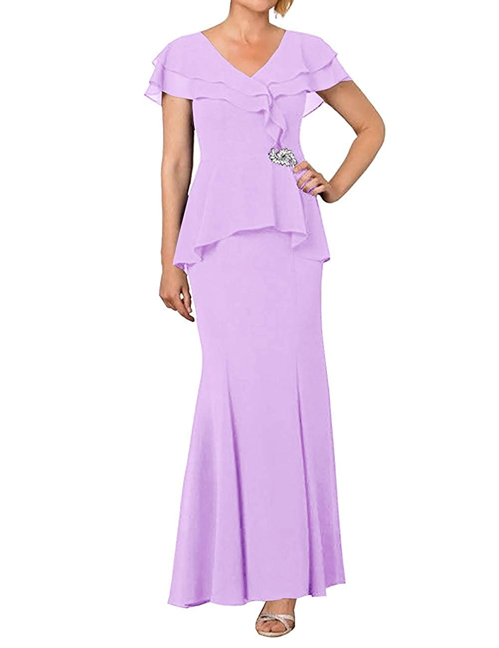 Lavender ZLQQ Womens Mother of The Bride Dress 2019 Cap Sleeve V Neck Formal Evening Gown