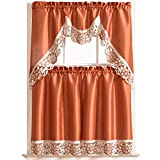 DREAMLAND Kitchen Curtain Set/ Swag valance & tier set. Nice matching color embroidery on border with cutworks (RUST)